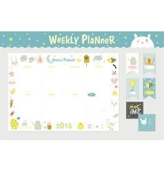 Cute calendar weekly planner vector