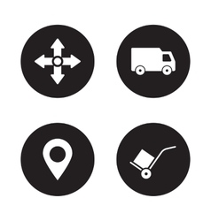 Delivery service black icons set vector image