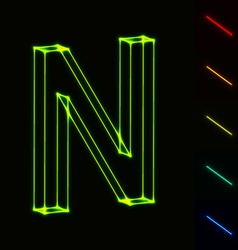 EPS10 glowing wireframe letter N - easy to change vector image vector image