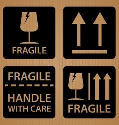 Fragile shipping label of black symbol design on vector