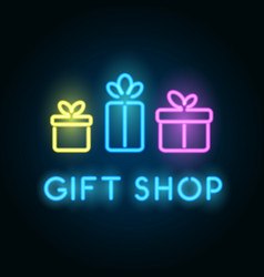 Gift shop neon sign signboard for store front vector
