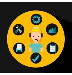 girl blonde support operator assistance vector image