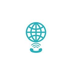Globe link logo concept app social global network vector