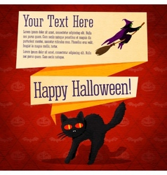 Happy halloween cute retro banner - craft paper vector image