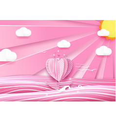 Heart shape boat in the sea and cloud sky vector