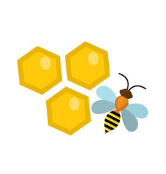 honeycomb and bee icon flat style isolated on vector image vector image