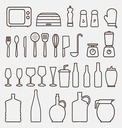 Outline Kitchen Icon Set Graphics vector image vector image