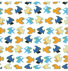 pattern with funny fishs vector image