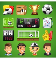 Realistic icons set on the theme of soccer vector