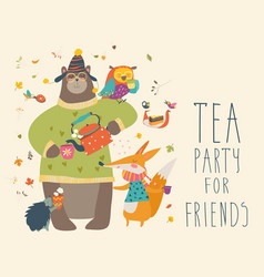 Tea party with cute animals vector