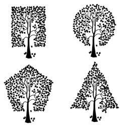trees of different geometric shapes set vector image