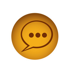 Yellow emblem chat bubble icon vector