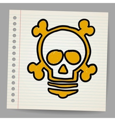 Lightbulb with skull vector