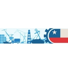 Cargo port relative icons set chile flag in gear vector
