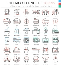 interior Furniture color line outline icons vector image