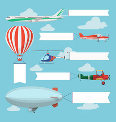 Flying planes helicopter and airship pulling vector