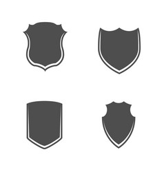 Black and white shields set vector