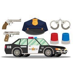 Police icon set- police hatcarhandcuffs weapons vector