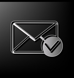 Mail sign with allow mark vector