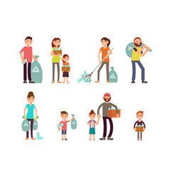 Group of people adult and kids characters vector