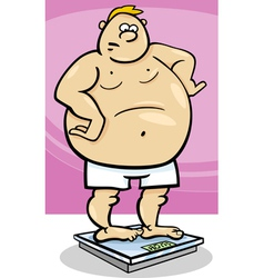 Overweight man on weight vector