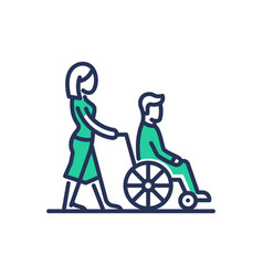 Disabled people help - modern line design vector