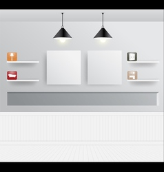 Interior design with home furniture icons vector