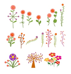 set with vintage flowers vector image