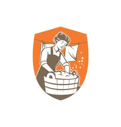 Housewife washing laundry vintage retro vector