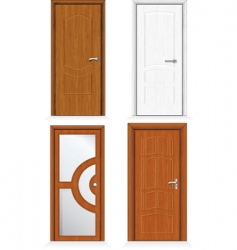 Wooden door set vector