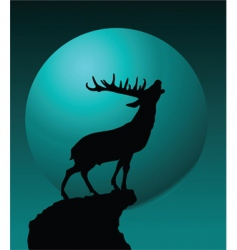 Deer and moon vector