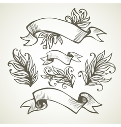 Vintage ribbon hand drawn vector