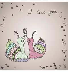 Two snails in love vector