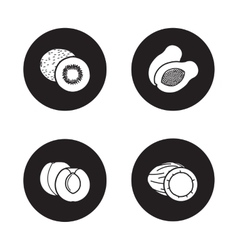 Fruits black icons set vector