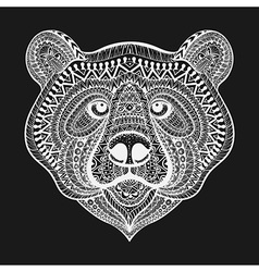 Zentangle stylized white bear face hand drawn vector