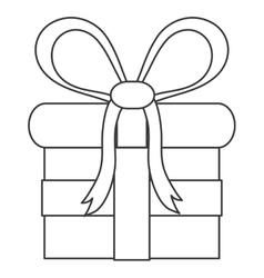 Gift with bow line icon vector