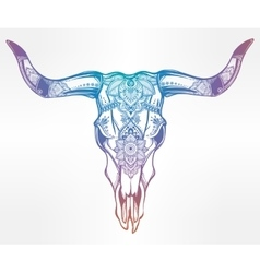 Hand drawn romantic style ornate cow skull vector