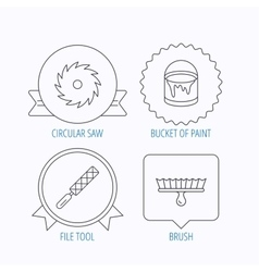 File tool circular saw and brush tool icons vector
