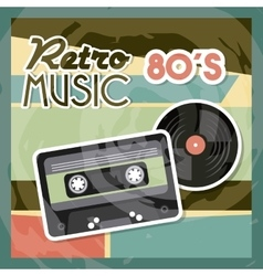 Cassette vinyl icon retro and music design vector