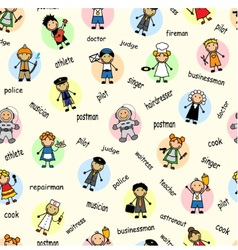 Cartoon seamless pattern with employees vector