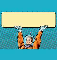 astronaut holding a banner poster vector image vector image