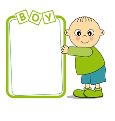 baby boy with a frame vector image vector image