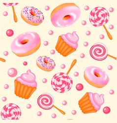 background seamless sweet donuts candy cupcakes vector image vector image