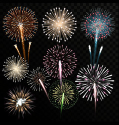 Big set of isolated fireworks vector