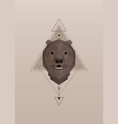 brown bear head geometric silhouette vector image
