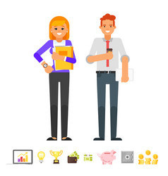 businessman and businesswoman characters vector image vector image
