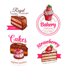 cakes and cupcakes dessert emblems vector image