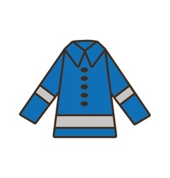 Cartoon protective blue jacket reflecting strips vector