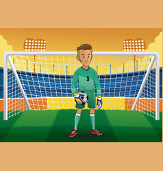 cartoon soccer goalkeeper vector image vector image