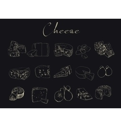 cheese sketch drawing designer template vector image
